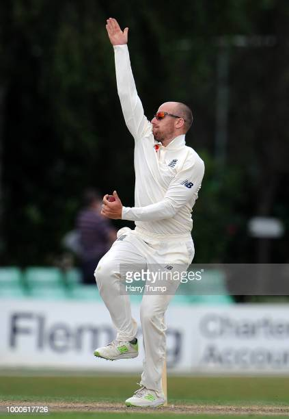 Jack Leach of England Lions during Day Two of the Tour Match match between England Lions and India A at New Road on July 17 2018 in Worcester England