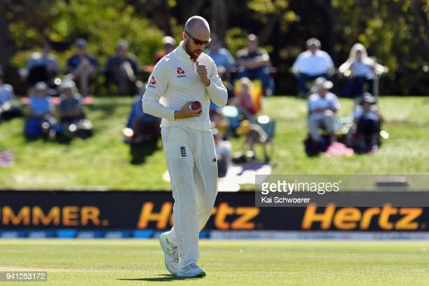 Jack Leach of England looks on during day five of the Second Test match between New Zealand and England at Hagley Oval on April 3 2018 in...