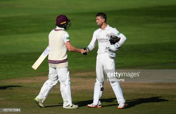 Jack Leach of Somerset and Dane Vilas of Lancashire shake hands after the match ends in a tie during Day Two of the Specsavers County Championship...