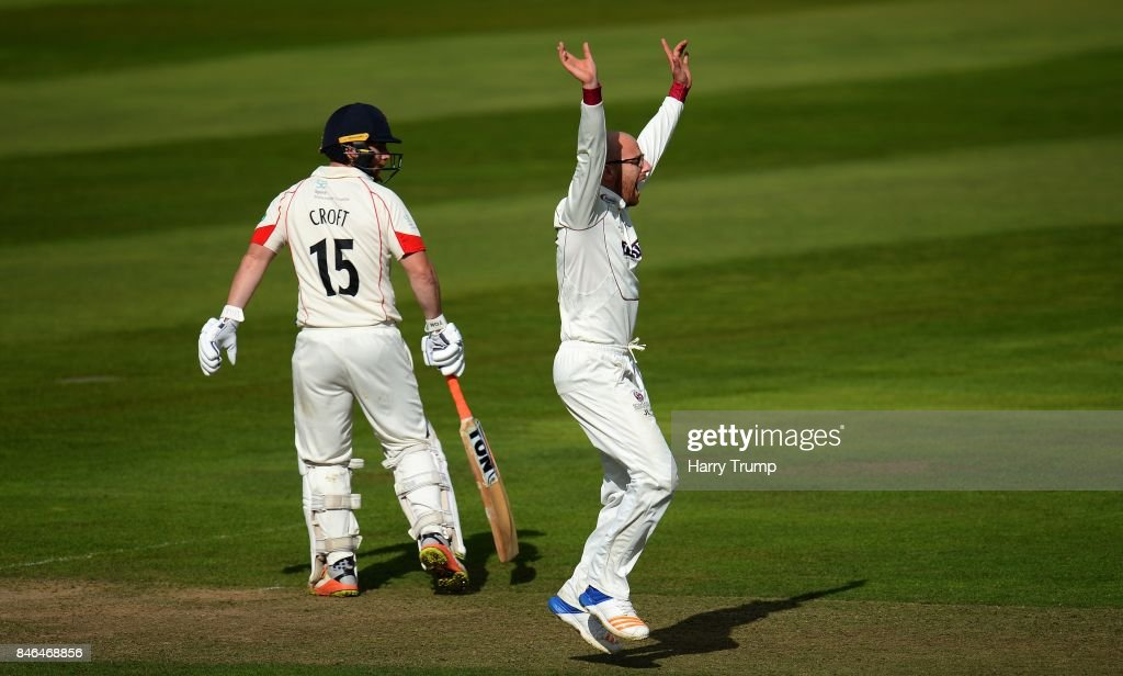 Jack Leach of Somerset(R) appeals during Day Two of the Specsavers County Championship Division One match between Somerset and Lancashire at The Cooper Associates County Ground on September 13, 2017 in Taunton, England.