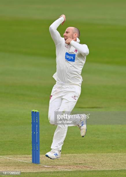 Jack Leach of Somerset bowls during day four of the LV= Insurance County Championship match between Hampshire and Somerset at Ageas Bowl on May 09,...