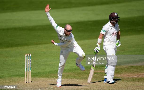 Jack Leach of Somerset bowls during Day One of the Specsavers County Championship match between Somerset and Surrey at The Cooper Associates County...