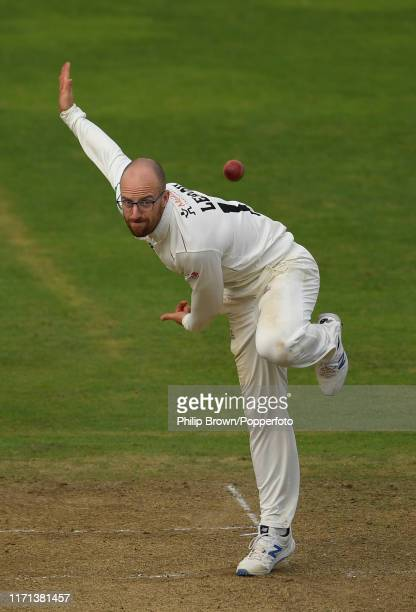 Jack Leach of Somerset bowls during the fourth day of the County Championship Division One match between Somerset and Essex on September 26 2019 in...