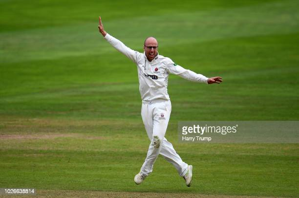 Jack Leach of Somerset celebrates after dismissing Danny Lamb of Lancashire during Day One of the Specsavers County Championship Division One match...