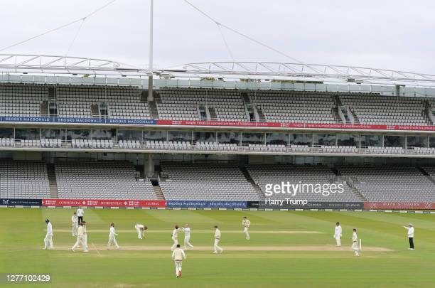 Jack Leach of Somerset celebrates after taking the wicket of Paul Walter of Essex during Day Five of the Bob Willis Trophy Final match between...