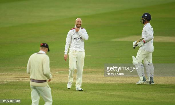 Jack Leach of Somerset celebrates after taking the wicket of Ryan Ten Doeschate of Essex during Day Five of the Bob Willis Trophy Final match between...