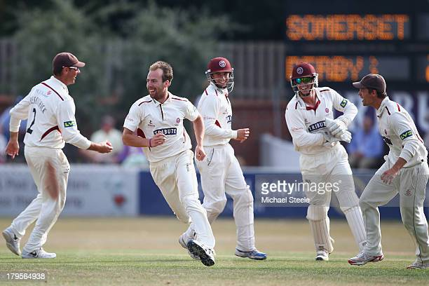 Jack Leach of Somerset celebrates after taking the wicket of Wayne Madsen of Derbyshire during day three of the LV County Championship Division One...