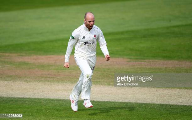 Jack Leach of Somerset celebrates the wicket of Ryan Patel of Surrey during Day Three of the Specsavers County Championship match between Somerset...