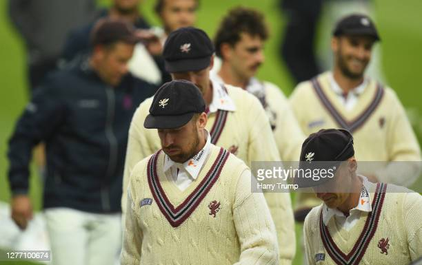 Jack Leach of Somerset makes his way off at the end of the match during Day Five of the Bob Willis Trophy Final match between Somerset and Essex at...