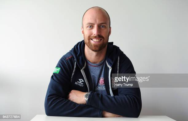 Jack Leach of Somerset poses during Day Four of the Friendly match between Somerset and Ireland at The Cooper Associates County Ground on April 9...