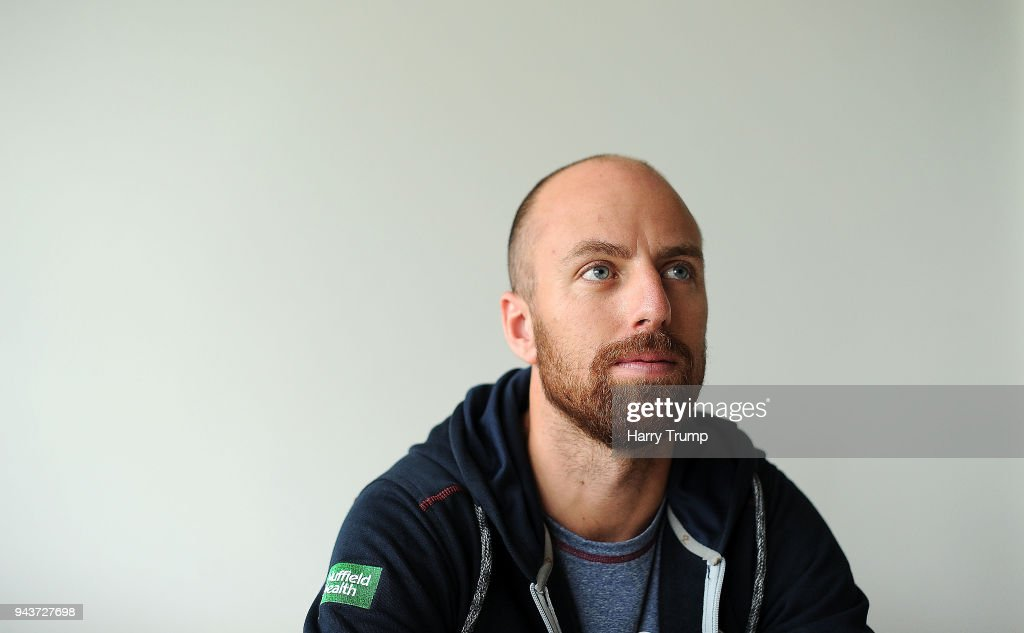 Jack Leach of Somerset poses during Day Four of the Friendly match between Somerset and Ireland at The Cooper Associates County Ground on April 9, 2018 in Taunton, England.