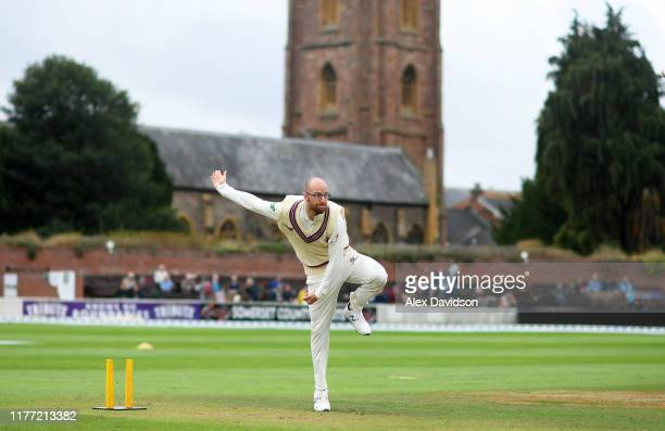 Jack Leach of Somerset warms up during Day Four of the Specsavers County Championship Division One match between Somerset and Essex at The Cooper...