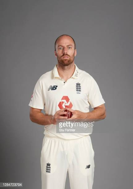 Jack Leach poses for a portrait during the England Test Squad Photo call at Ageas Bowl on July 05, 2020 in Southampton, England.