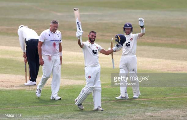 Jack Leaning of Kent celebrates his double century with Jordan Cox of Kent during Day Three of the Bob Willis Trophy match between Kent and Sussex at...