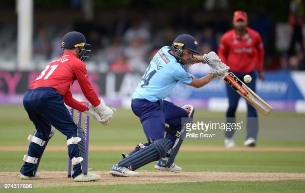 Jack Leaning of Yorkshire Vikings hits out during the Royal London OneDay Cup match between Essex Eagles and Yorkshire Vikings at the Cloudfm County...
