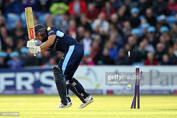 Jack Leaning of Yorkshire Vikings is bowled off of Jordan Clark of Lancashire Lightning during the NatWest T20 Blast match between Yorkshire Vikings...