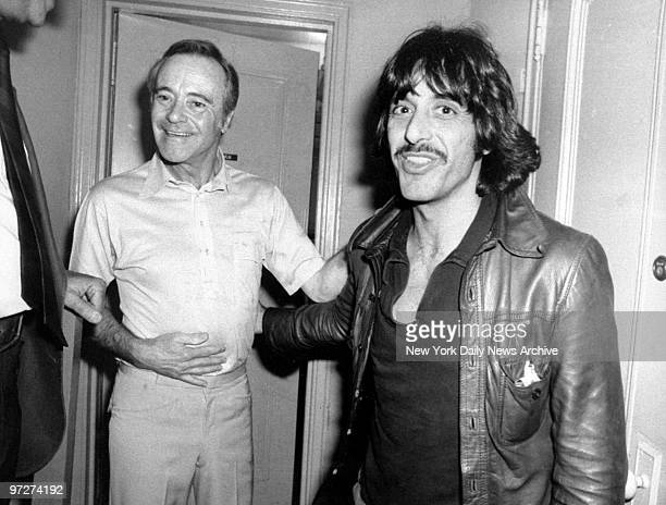 Jack Lemmon gets a congratulatory visit from Al Pacino backstage at the Brooks Atkinson Theater after his perfomance in the play 'Tribute'