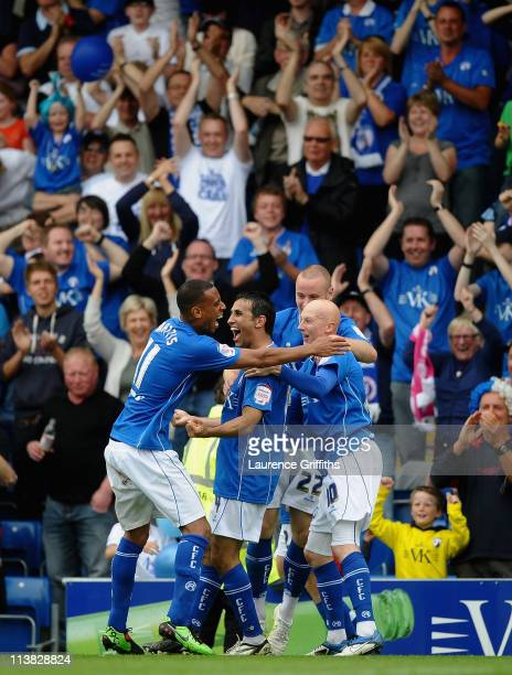 Jack Lester of Chesterfield celebrates scoring hthe second goal with Danny Mattis and Danny Whitaker during the npower League Two match between...