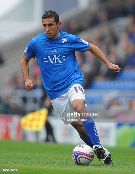 Jack Lester of Chesterfield on the ball during the npower League Two match between Chesterfield and Southend United at the B2net Stadium on October 9...