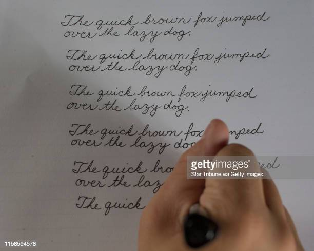 Jack Lieberherr an eighth grader at St Anne Academy in White Bear Lake just won a national contest for cursive writing Wednesday May 312017 in Eden...