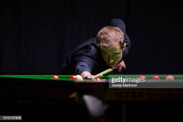 Jack Lisowski of Great Britain competes against Neil Robertson of Australia in the final of 2018 Kaspersky Riga Masters the annual professional...