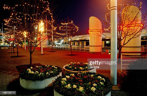jack london square, barnes and noble bookstore at night. - jack london stock pictures, royalty-free photos & images