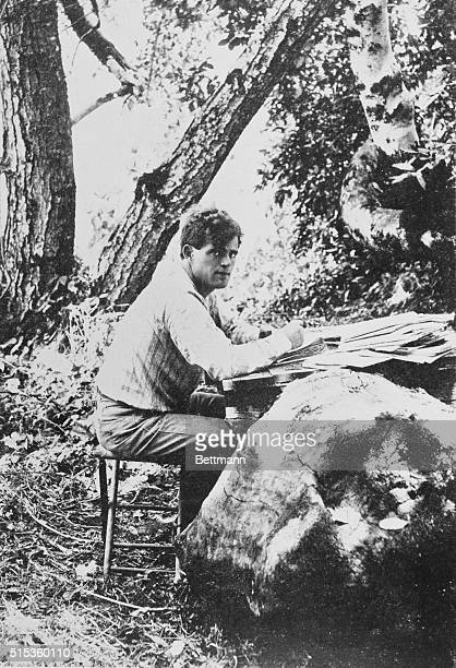 Jack London writing in the outdoors