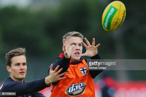 Jack Lonie competes for the ball during a St Kilda Saints AFL training session at Linen House Oval on June 27 2017 in Melbourne Australia