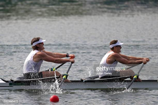 Jack Lopas and Christopher Harris of Team New Zealand compete during the Men's Double Sculls Final B on day five of the Tokyo 2020 Olympic Games at...