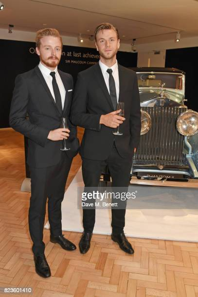 Jack Lowden and Wilf Scolding attend the world premiere of the 'The Great Eight Phantoms A RollsRoyce Exhibition' at Bonhams on July 27 2017 in...