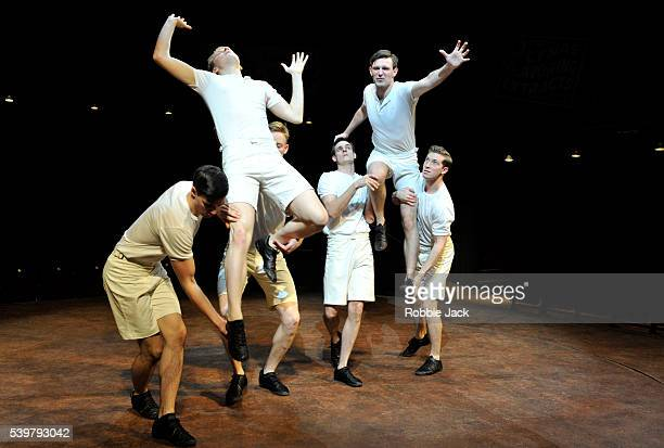 Jack Lowden as Eric Liddell and James McArdle as Harold Abrahams with artists of the company in Mike Bartlett's Chariots of Fire directed by Edward...