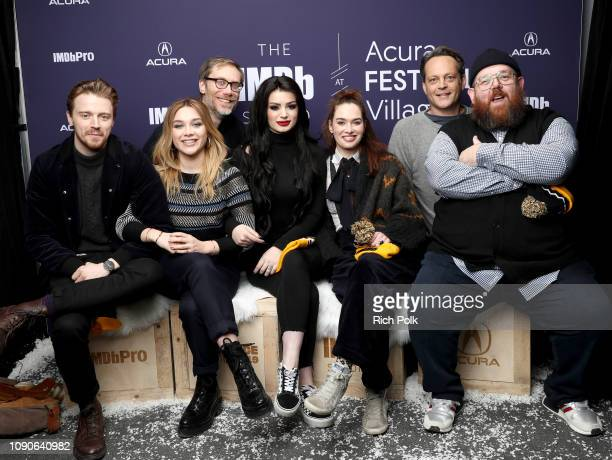 Jack Lowden Florence Pugh Stephen Merchant Paige Lena Headey Vince Vaughn and Nick Frost of 'Fighting With My Family' attends The IMDb Studio at...