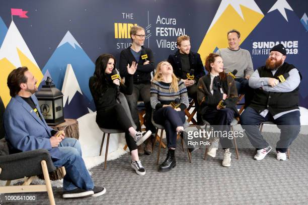 Jack Lowden Florence Pugh Stephen Merchant Paige Lena Headey Vince Vaughn and Nick Frost of 'Fighting With My Family' and Kevin Smith attend The IMDb...