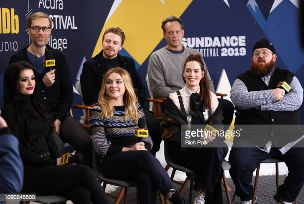 Jack Lowden Florence Pugh Stephen Merchant Paige Lena Headey Vince Vaughn and Nick Frost of 'Fighting With My Family' attend The IMDb Studio at Acura...