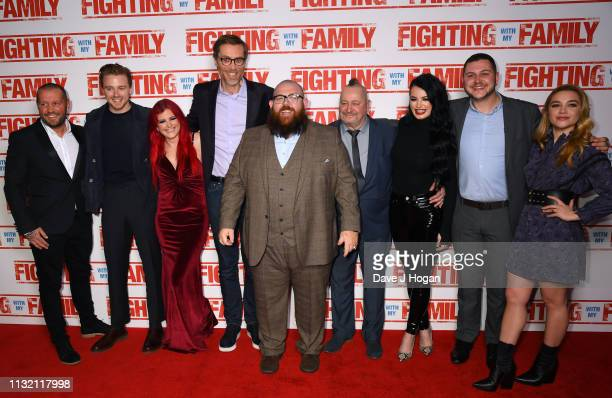 Jack Lowden Saraya Knight Stephen Merchant Nick Frost Ricky Knight Paige Knight Zak Knight and Florence Pugh attend the UK Premiere of Fighting With...
