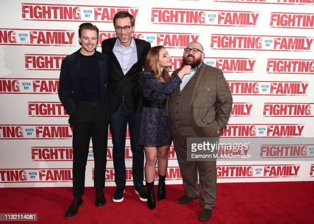 Jack Lowden Stephen Merchant Florence Pugh and Nick Frost attend the UK Premiere of Fighting With My Family at BFI Southbank on February 25 2019 in...