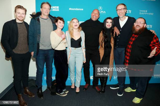 Jack Lowden Vince Vaughn Lena Headey Florence Pugh Dwayne Johnson Paige Stephen Merchant and Nick Frost attend the Surprise Screening Of Fighting...