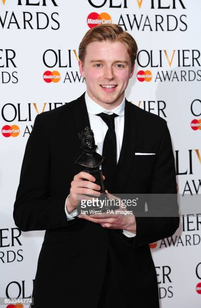 Jack Lowden wins the Olivier Award for Best Actor in a Supporting Role at the Royal Opera House in Covent Garden London