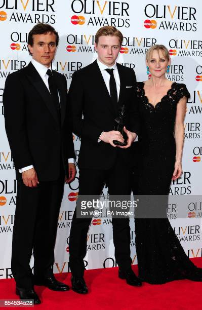 Jack Lowden wins the Olivier Award for Best Actor in a Supporting Role presented by Ben Miles and Lesley Sharp at the Royal Opera House in London