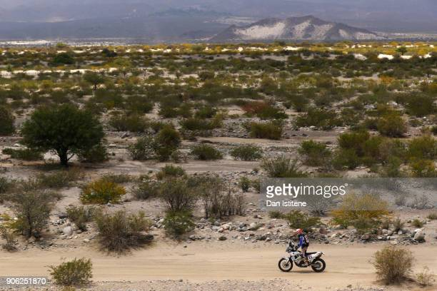 Jack Lundin of Canada and HT Rally Raid Husqvarna rides a Husqvarna FR 450 Rally bike in the Classe 21 Super Production during stage eleven of the...