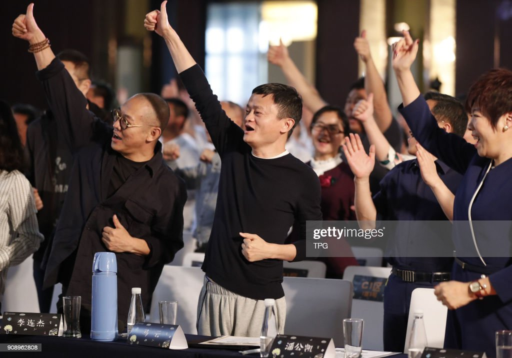 Jack Ma and Jet Li attend class with rural teacher : News Photo