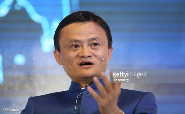 Jack Ma billionaire and chairman of Alibaba Group Holding Ltd speaks during a session at the St Petersburg International Economic Forum in Saint...