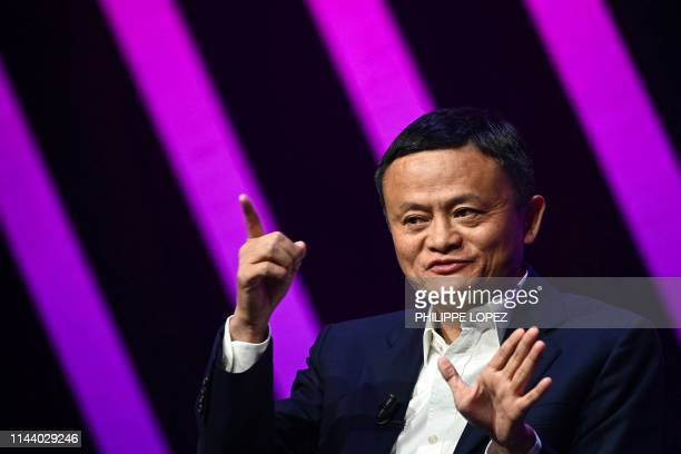 Jack Ma CEO of Chinese ecommerce giant Alibaba gestures as he speaks during his visit at the Vivatech startups and innovation fair in Paris on May 16...