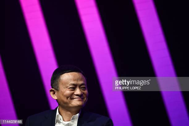 Jack Ma CEO of Chinese ecommerce giant Alibaba speaks during his visit at the Vivatech startups and innovation fair in Paris on May 16 2019