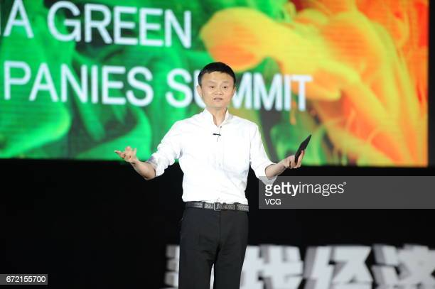 Jack Ma Chairman of Alibaba Group Holding Ltd delivers a speech during the 2017 China Green Companies Summit at Zhengzhou International Convention...
