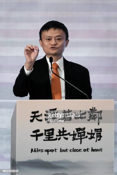Jack Ma chairman of Alibaba Group Holding Ltd gestures as he speaks during a news conference in Hong Kong China on Monday June 25 2018 Billionaire...