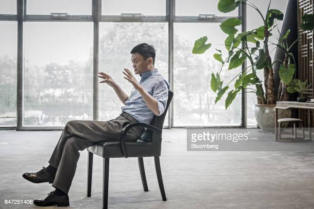Jack Ma chairman of Alibaba Group Holding Ltd speaks during a Bloomberg Television interview at the company's headquarters in Hangzhou China on...