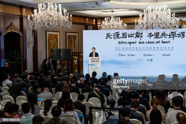 Jack Ma chairman of Alibaba Group Holding Ltd speaks during a news conference in Hong Kong China on Monday June 25 2018 Billionaire Jack Ma has...