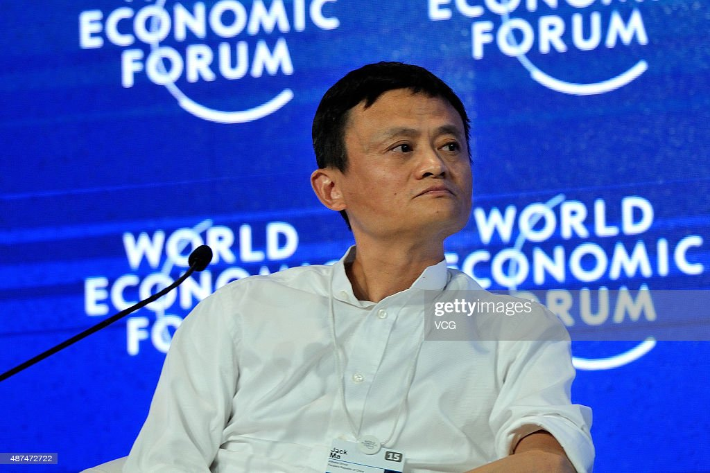 Jack Ma Chairman Of Alibaba Group Reacts During The World Economic