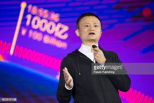 Jack Ma Chairman of Alibaba Group shows up in the media center for the annual Tmall Online Shopping Festival in Shenzhen in Guangdong province on...